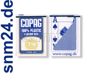 Pokerkarten Copag Plastikkarten Jumbo-Index 4-farbig Blau Spielkarten - NEU
