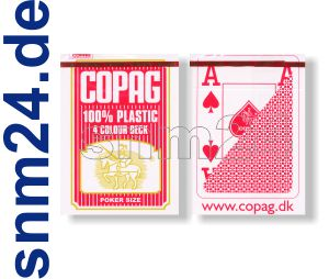 Pokerkarten Copag Plastikkarten Jumbo-Index 4-farbig Rot Spielkarten - NEU