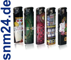 5 x hochwertiges Poker Casino Feuerzeug von LUX elektronisch + befllbar - NEU