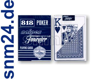 FOURNIER Pokerkarten 818 BLAU Plastic-coated Jumbo Index (große Symbole) NEU